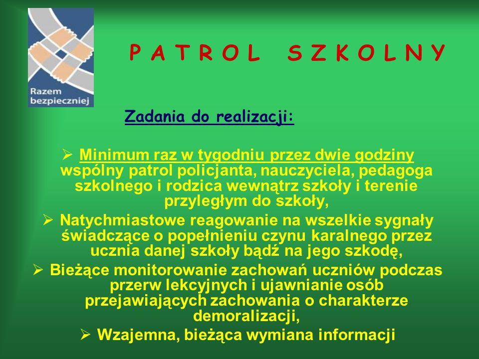 P A T R O L S Z K O L N Y Zadania do realizacji:  Minimum raz w tygodniu przez dwie godziny wspólny patrol policjanta, nauczyciela, pedagoga szkolneg