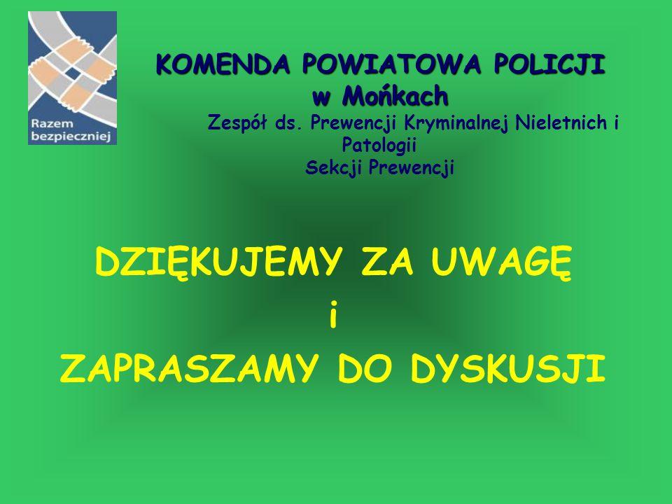 DZIĘKUJEMY ZA UWAGĘ i ZAPRASZAMY DO DYSKUSJI KOMENDA POWIATOWA POLICJI w Mońkach KOMENDA POWIATOWA POLICJI w Mońkach Zespół ds. Prewencji Kryminalnej