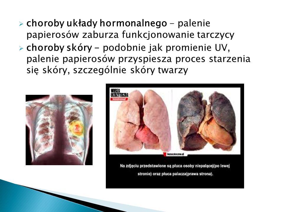  choroby układy hormonalnego - palenie papierosów zaburza funkcjonowanie tarczycy  choroby skóry - podobnie jak promienie UV, palenie papierosów prz