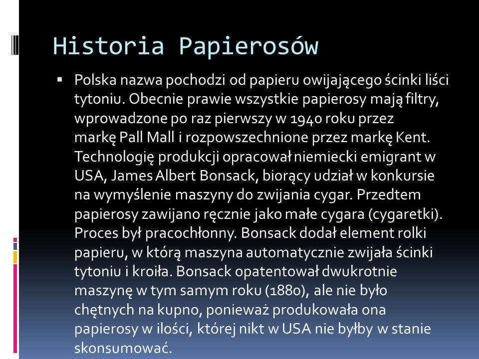 Historia Papierosów  Polska nazwa pochodzi od papieru owijającego ścinki liści tytoniu.