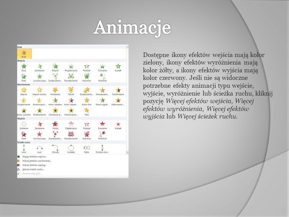 Dostępne ikony efektów wejścia mają kolor zielony, ikony efektów wyróżnienia mają kolor żółty, a ikony efektów wyjścia mają kolor czerwony. Jeśli nie