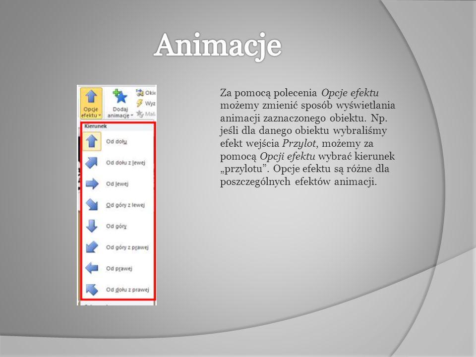 Za pomocą polecenia Opcje efektu możemy zmienić sposób wyświetlania animacji zaznaczonego obiektu. Np. jeśli dla danego obiektu wybraliśmy efekt wejśc
