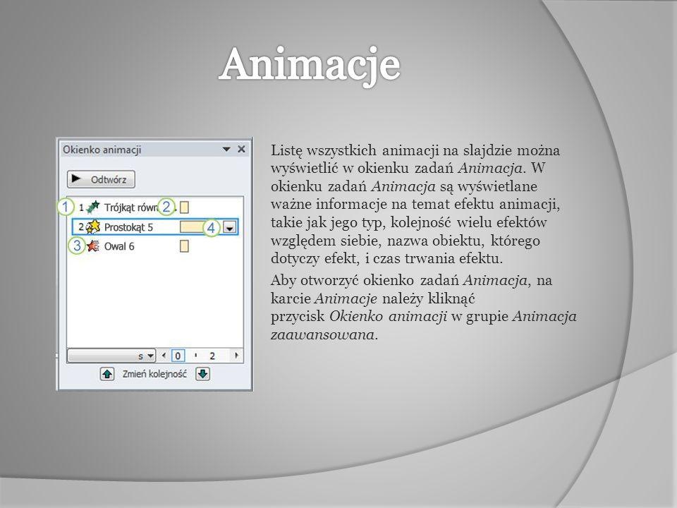 Listę wszystkich animacji na slajdzie można wyświetlić w okienku zadań Animacja. W okienku zadań Animacja są wyświetlane ważne informacje na temat efe