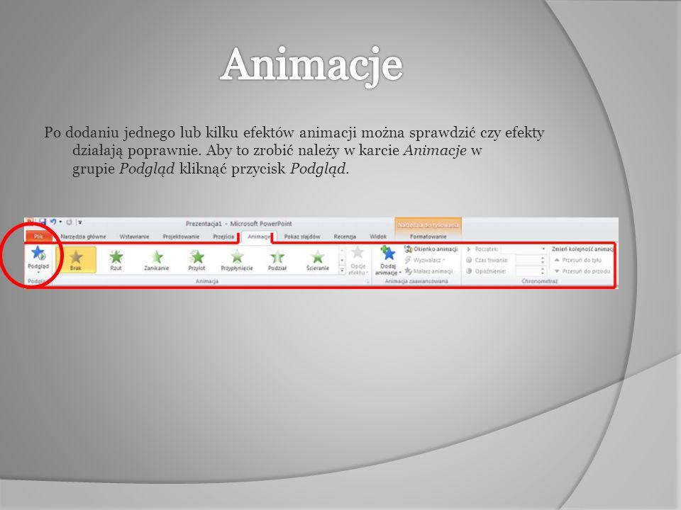 Po dodaniu jednego lub kilku efektów animacji można sprawdzić czy efekty działają poprawnie. Aby to zrobić należy w karcie Animacje w grupie Podgląd k