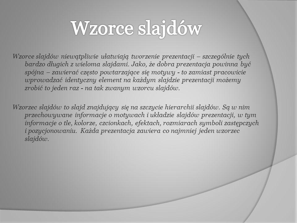 Opcje dotyczące wzorca slajdów znajdują się na wstążce Widok.