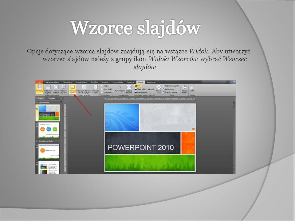 Opcje dotyczące wzorca slajdów znajdują się na wstążce Widok. Aby utworzyć wzorzec slajdów należy z grupy ikon Widoki Wzorców wybrać Wzorzec slajdów