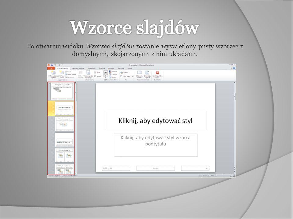 Po otwarciu widoku Wzorzec slajdów zostanie wyświetlony pusty wzorzec z domyślnymi, skojarzonymi z nim układami.