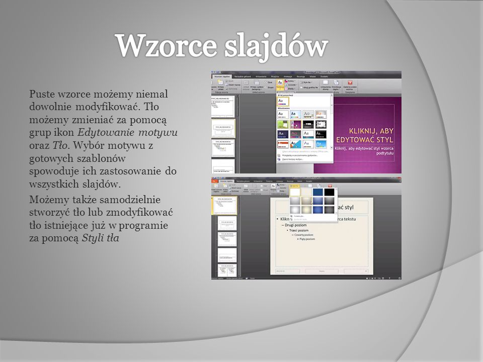 Czcionki można zmieniać globalnie dla całego slajdu poprzez wybranie ikony Czcionki w grupie ikon Edytowanie motywu… …lub każdy poziom slajdu oddzielnie, poprzez zaznaczenie go i po kliknięciu prawym przyciskiem myszy wybranie interesującej nas funkcji.