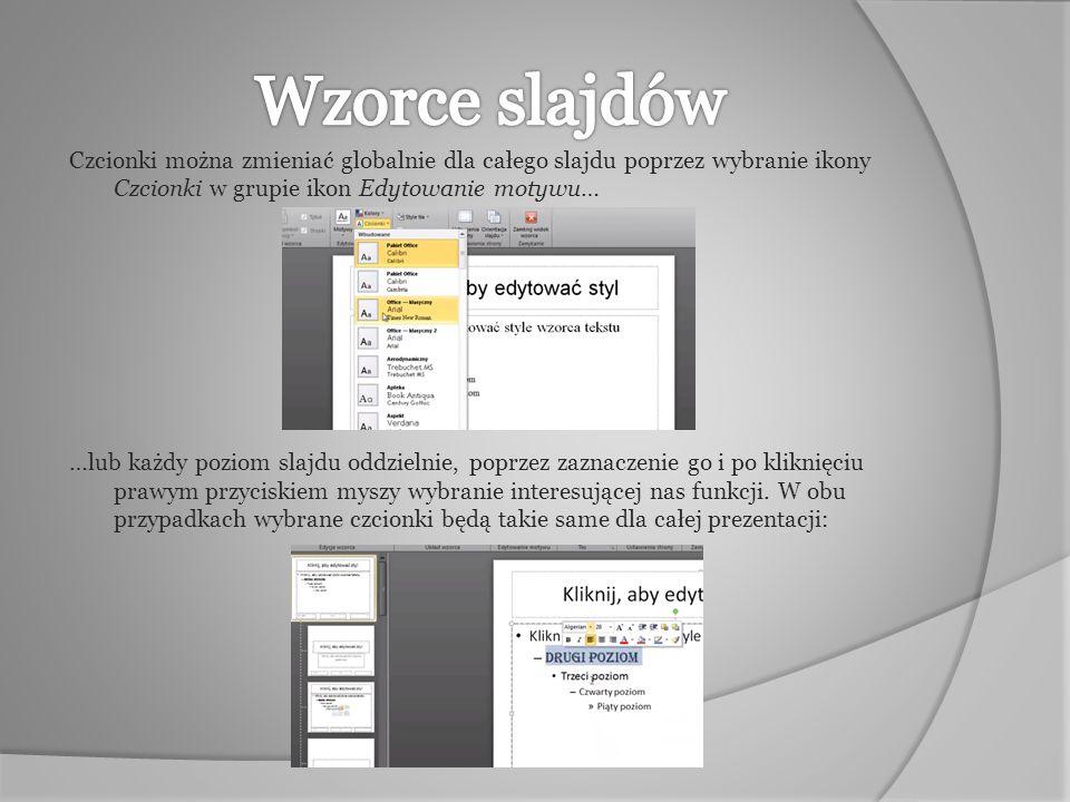 We wzorcach możemy wstawić grafikę np.logo, która będzie wyświetlana na wszystkich slajdach.