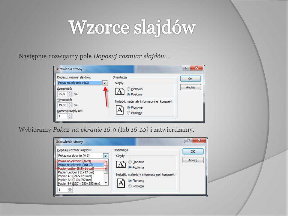 Aby zmienić orientacje slajdów w prezentacji należy w karcie Projekt wybrać ikonę Ustawienia strony.