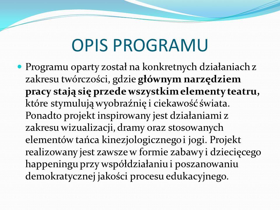 OPIS PROGRAMU Programu oparty został na konkretnych działaniach z zakresu twórczości, gdzie głównym narzędziem pracy stają się przede wszystkim elemen