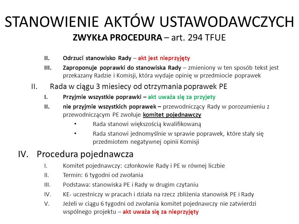 STANOWIENIE AKTÓW USTAWODAWCZYCH ZWYKŁA PROCEDURA – art. 294 TFUE II.Odrzuci stanowisko Rady – akt jest nieprzyjęty III.Zaproponuje poprawki do stanow