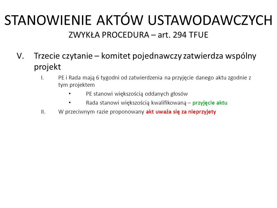 STANOWIENIE AKTÓW USTAWODAWCZYCH ZWYKŁA PROCEDURA – art. 294 TFUE V.Trzecie czytanie – komitet pojednawczy zatwierdza wspólny projekt I.PE i Rada mają