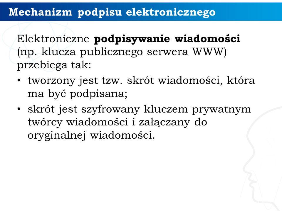 Mechanizm podpisu elektronicznego Elektroniczne podpisywanie wiadomości (np.