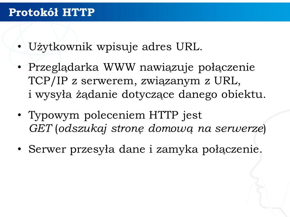 Protokół HTTP Użytkownik wpisuje adres URL.