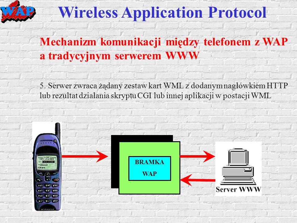 Wireless Application Protocol Mechanizm komunikacji między telefonem z WAP a tradycyjnym serwerem WWW 5.