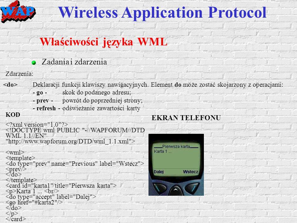 Wireless Application Protocol Właściwości języka WML Zadania i zdarzenia KOD Karta 1...