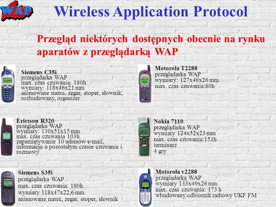 Wireless Application Protocol Przegląd niektórych dostępnych obecnie na rynku aparatów z przeglądarką WAP Siemens C35i przeglądarka WAP max.