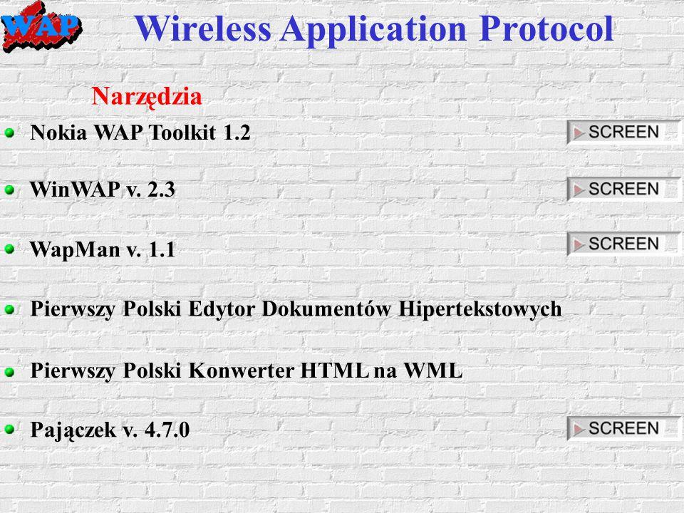 Wireless Application Protocol Narzędzia Nokia WAP Toolkit 1.2 WinWAP v.
