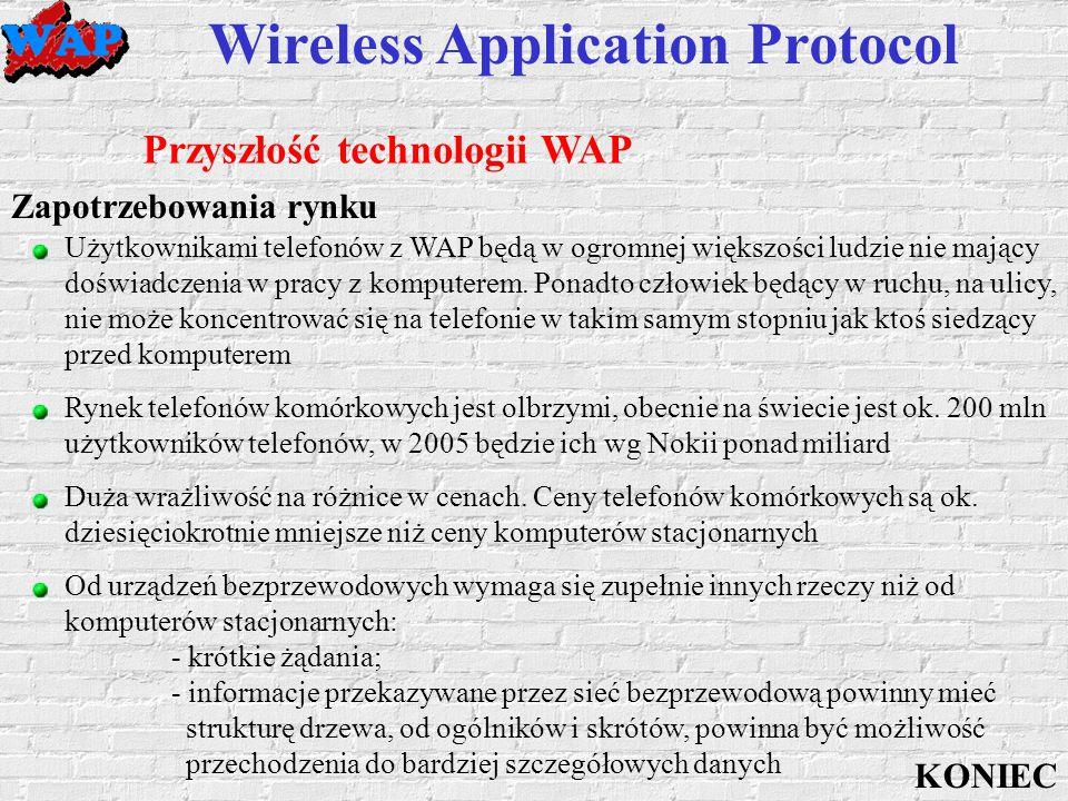 Wireless Application Protocol Przyszłość technologii WAP Zapotrzebowania rynku Duża wrażliwość na różnice w cenach.