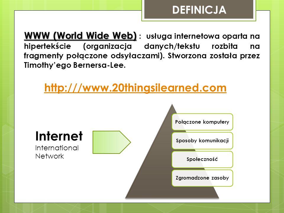 DEFINICJA WWW (World Wide Web) WWW (World Wide Web) : usługa internetowa oparta na hipertekście (organizacja danych/tekstu rozbita na fragmenty połączone odsyłaczami).