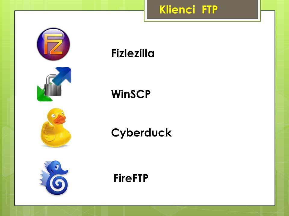Klienci FTP Fizlezilla WinSCP Cyberduck FireFTP