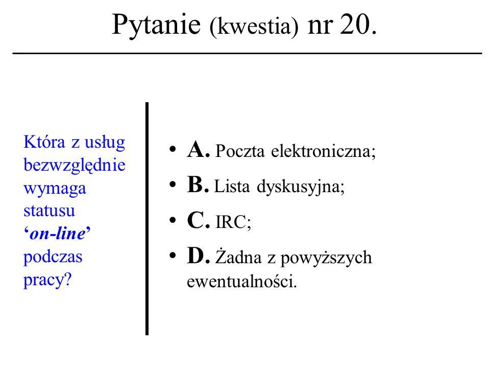 Pytanie (kwestia) nr 19. Z jaką usługą sieciową kojarzysz terminy 'post' i 'body' (postu) .