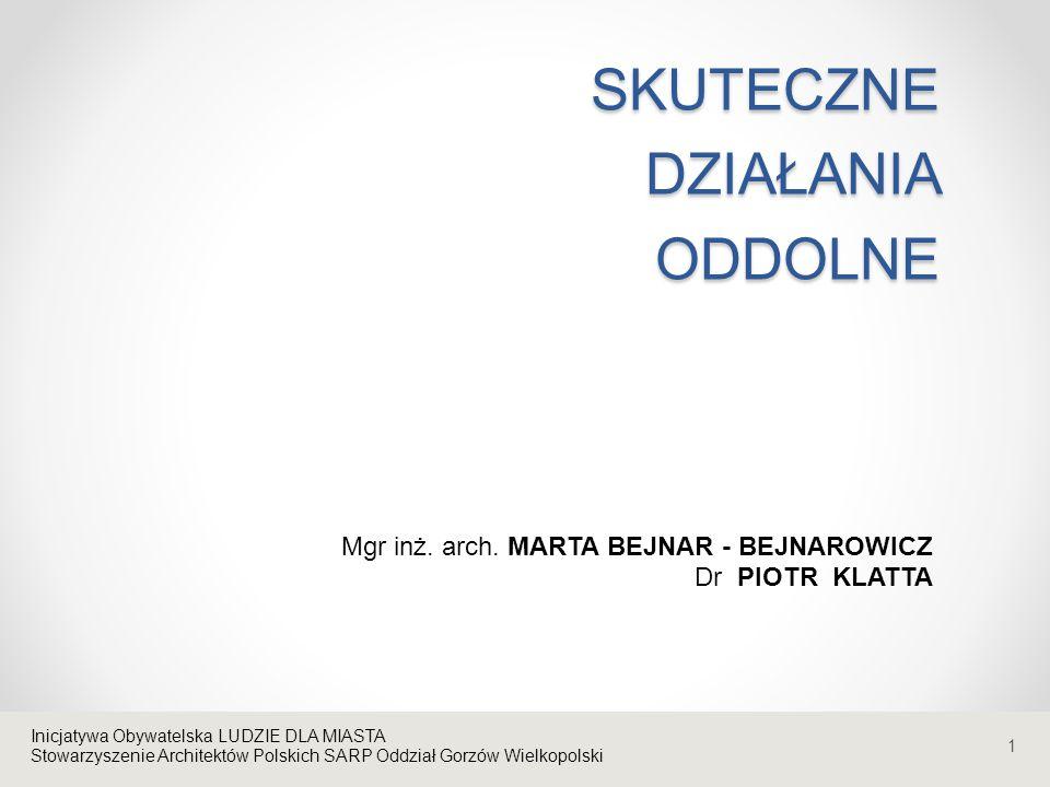 1 SKUTECZNE DZIAŁANIA ODDOLNE Inicjatywa Obywatelska LUDZIE DLA MIASTA Stowarzyszenie Architektów Polskich SARP Oddział Gorzów Wielkopolski Mgr inż. a