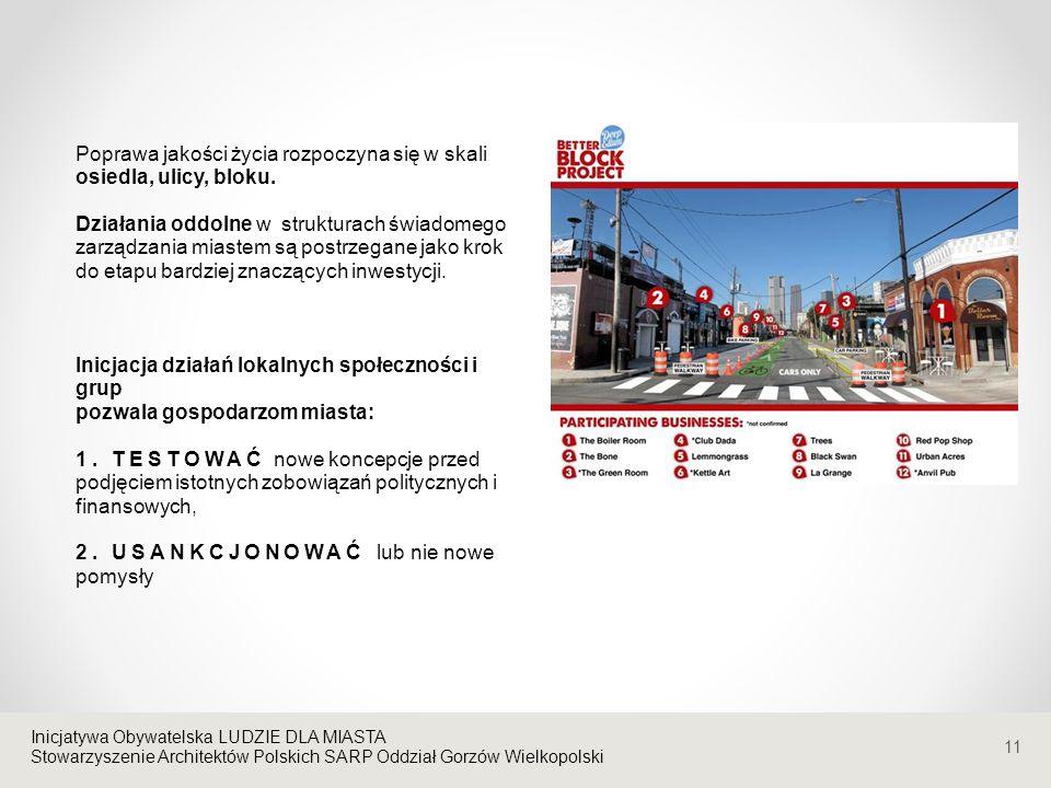 Stowarzyszenie Architektów Polskich SARP Oddział Gorzów Wielkopolski Poprawa jakości życia rozpoczyna się w skali osiedla, ulicy, bloku.