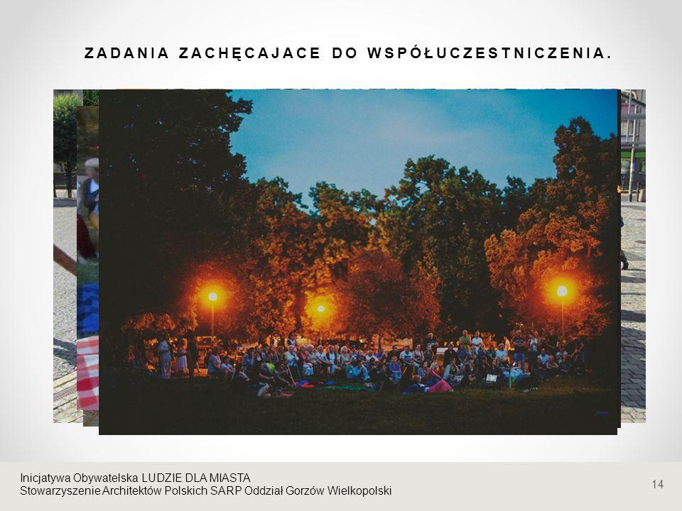 Stowarzyszenie Architektów Polskich SARP Oddział Gorzów Wielkopolski ZADANIA ZACHĘCAJACE DO WSPÓŁUCZESTNICZENIA. 14 Inicjatywa Obywatelska LUDZIE DLA
