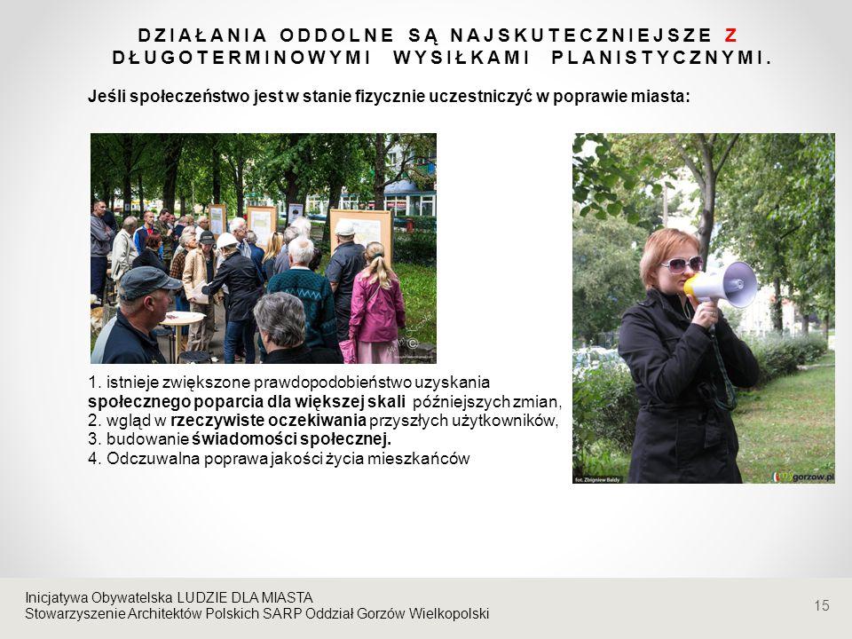 Stowarzyszenie Architektów Polskich SARP Oddział Gorzów Wielkopolski DZIAŁANIA ODDOLNE SĄ NAJSKUTECZNIEJSZE Z DŁUGOTERMINOWYMI WYSIŁKAMI PLANISTYCZNYM