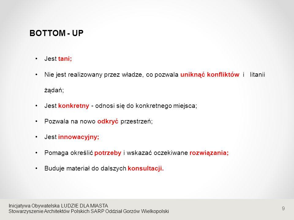 9 Inicjatywa Obywatelska LUDZIE DLA MIASTA Stowarzyszenie Architektów Polskich SARP Oddział Gorzów Wielkopolski Jest tani; Nie jest realizowany przez władze, co pozwala uniknąć konfliktów i litanii żądań; Jest konkretny - odnosi się do konkretnego miejsca; Pozwala na nowo odkryć przestrzeń; Jest innowacyjny; Pomaga określić potrzeby i wskazać oczekiwane rozwiązania; Buduje materiał do dalszych konsultacji.