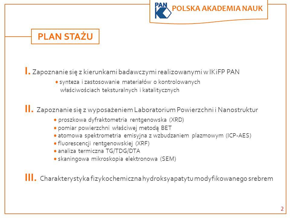POLSKA AKADEMIA NAUK. I. Zapoznanie się z kierunkami badawczymi realizowanymi w IKiFP PAN  synteza i zastosowanie materiałów o kontrolowanych właściw