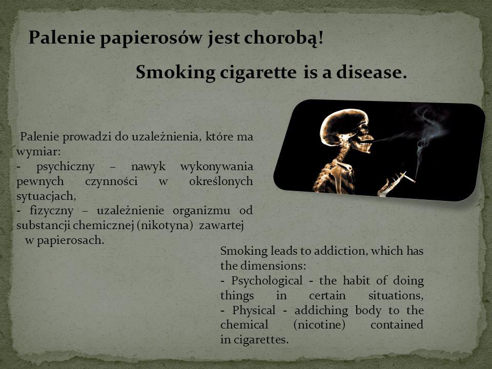 Palenie papierosów jest chorobą.