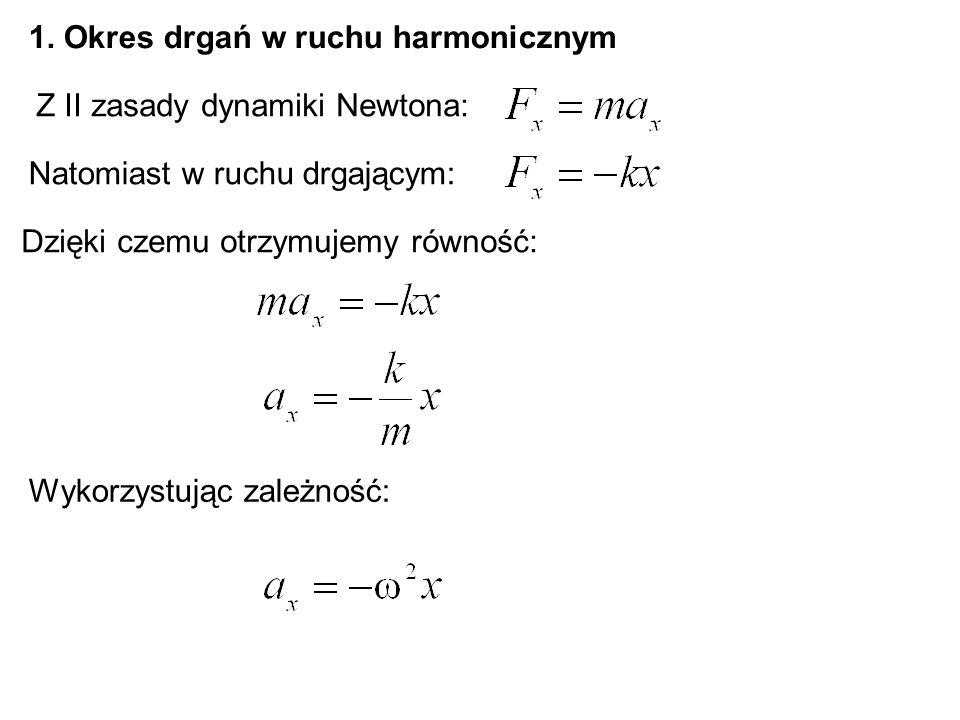 1. Okres drgań w ruchu harmonicznym Z II zasady dynamiki Newtona: Natomiast w ruchu drgającym: Dzięki czemu otrzymujemy równość: Wykorzystując zależno