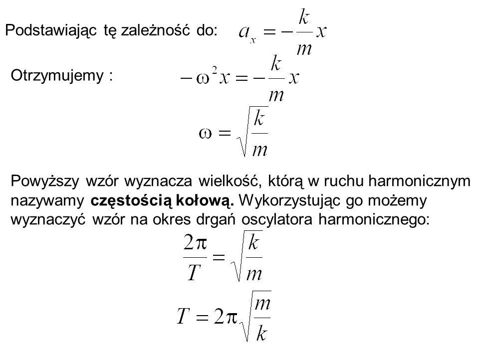 Podstawiając tę zależność do: Otrzymujemy : Powyższy wzór wyznacza wielkość, którą w ruchu harmonicznym nazywamy częstością kołową. Wykorzystując go m