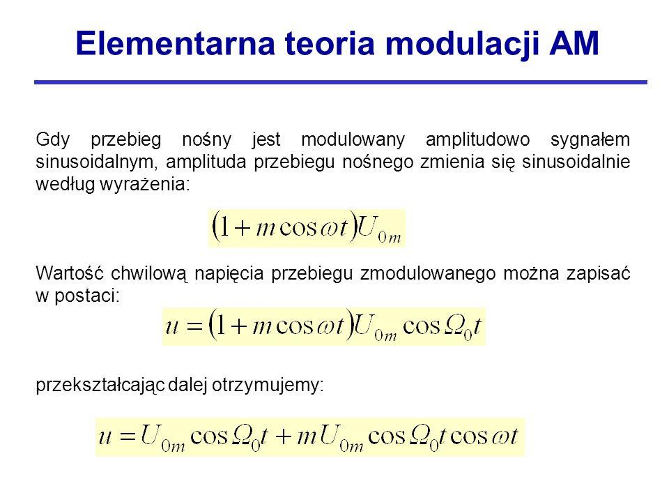 Gdy przebieg nośny jest modulowany amplitudowo sygnałem sinusoidalnym, amplituda przebiegu nośnego zmienia się sinusoidalnie według wyrażenia: Wartość chwilową napięcia przebiegu zmodulowanego można zapisać w postaci: przekształcając dalej otrzymujemy: Elementarna teoria modulacji AM