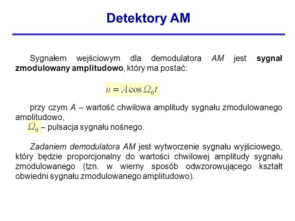 Sygnałem wejściowym dla demodulatora AM jest sygnał zmodulowany amplitudowo, który ma postać: przy czym A – wartość chwilowa amplitudy sygnału zmodulowanego amplitudowo,  0 – pulsacja sygnału nośnego.