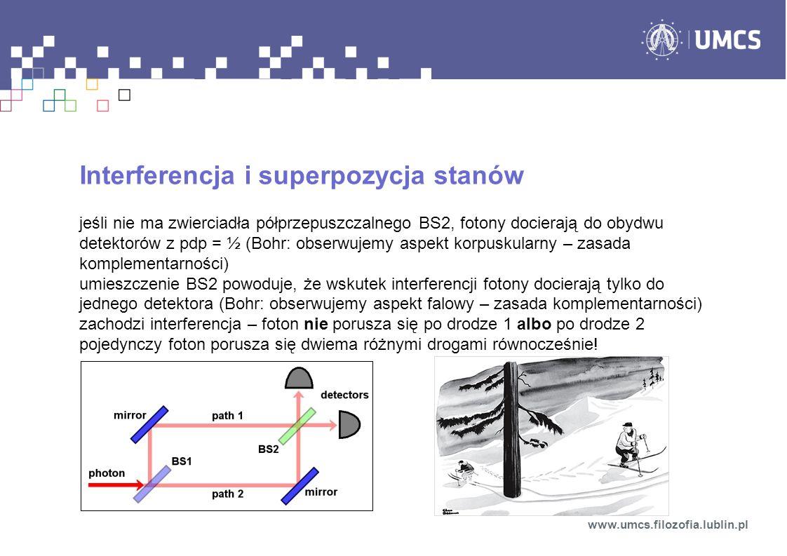 Interferencja i superpozycja stanów jeśli nie ma zwierciadła półprzepuszczalnego BS2, fotony docierają do obydwu detektorów z pdp = ½ (Bohr: obserwujemy aspekt korpuskularny – zasada komplementarności) umieszczenie BS2 powoduje, że wskutek interferencji fotony docierają tylko do jednego detektora (Bohr: obserwujemy aspekt falowy – zasada komplementarności) zachodzi interferencja – foton nie porusza się po drodze 1 albo po drodze 2 pojedynczy foton porusza się dwiema różnymi drogami równocześnie.