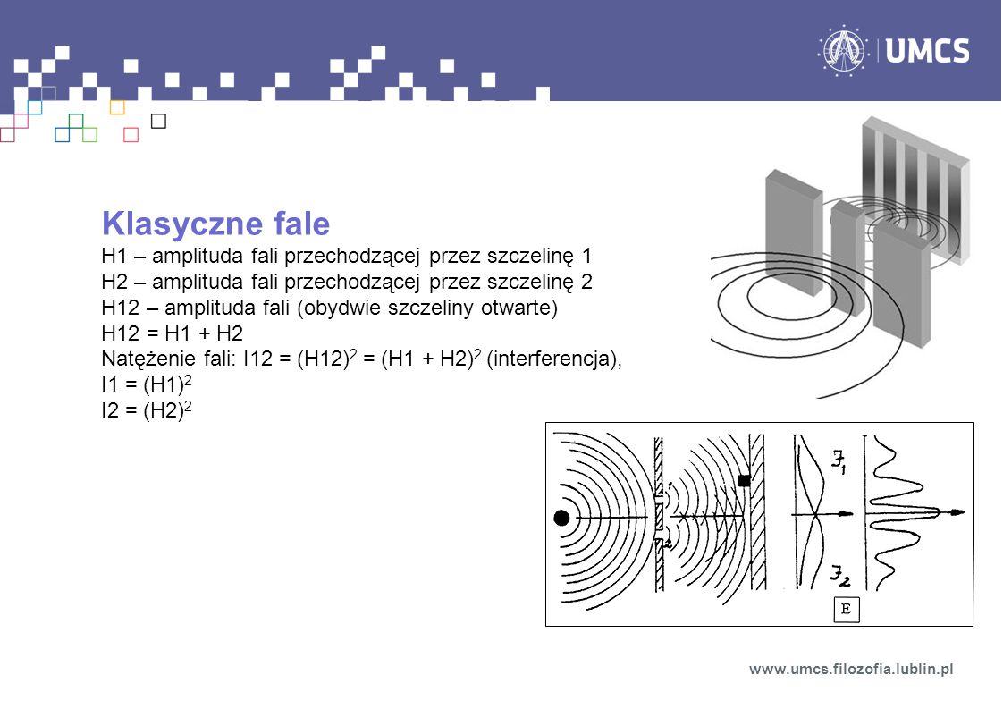 Cząstki kwantowe Rezultaty eksperymentu: Elektrony trafiają w detektor pojedynczo Detektor rejestruje zawsze taką samą, dyskretną wartość (cały elektron lub nic) Nigdy dwa detektory nie rejestrują jednego elektronu Ale.