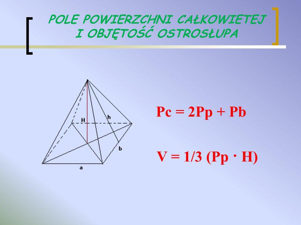 V = 1/3 (Pp · H) POLE POWIERZCHNI CAŁKOWIETEJ I OBJĘTOŚĆ OSTROSŁUPA Pc = 2Pp + Pb