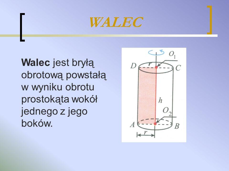 BUDOWA WALCA Walec składa się z: dwóch podstaw, które są przystającymi kołami zawartymi w równoległych płaszczyznach z powierzchni bocznej, która po rozwinięciu na płaszczyźnie jest prostokątem.
