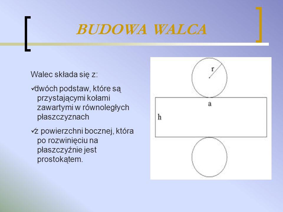 BUDOWA WALCA Walec składa się z: dwóch podstaw, które są przystającymi kołami zawartymi w równoległych płaszczyznach z powierzchni bocznej, która po r