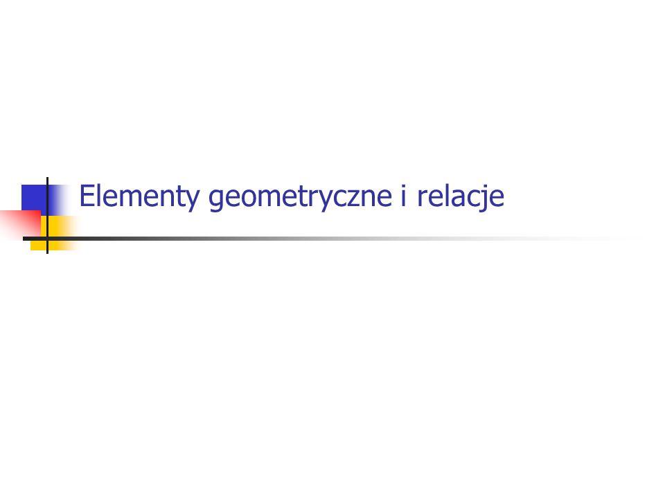 2 Wektory Definicje elementów geometrycznych Odległości między elementami geometrycznymi Kąty Elementy symetrii Przecięcia Rzuty