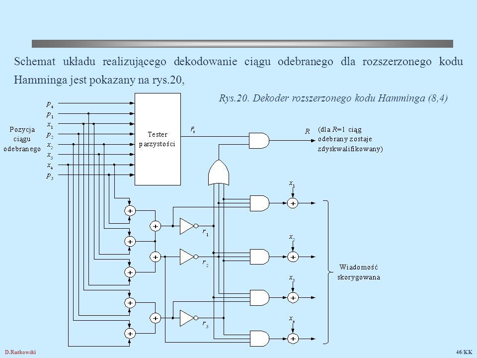 D.Rutkowski46/KK Schemat układu realizującego dekodowanie ciągu odebranego dla rozszerzonego kodu Hamminga jest pokazany na rys.20, Rys.20. Dekoder ro