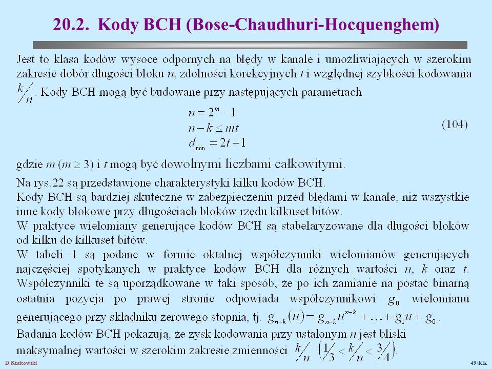 D.Rutkowski49/KK 20.2. Kody BCH (Bose-Chaudhuri-Hocquenghem)