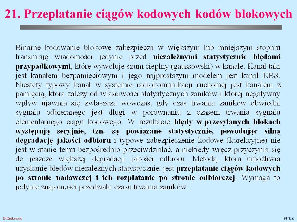 D.Rutkowski55/KK 21. Przeplatanie ciągów kodowych kodów blokowych