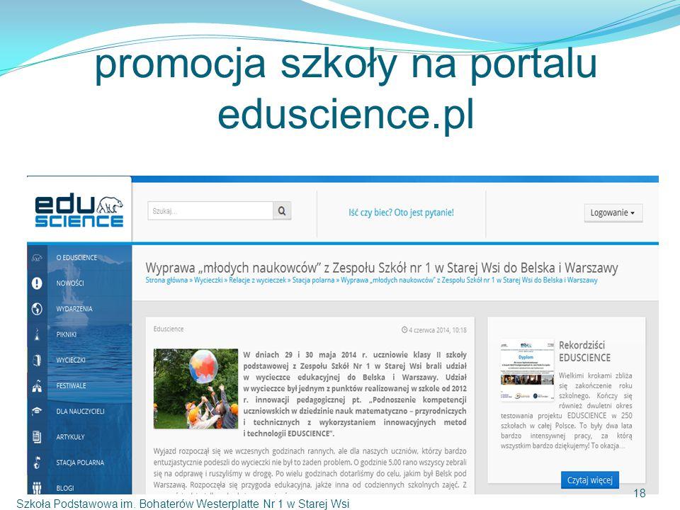 promocja szkoły na portalu eduscience.pl Szkoła Podstawowa im.