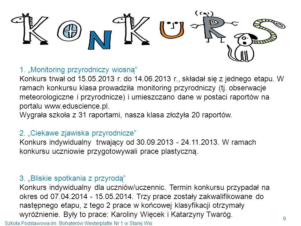 """1. """"Monitoring przyrodniczy wiosną Konkurs trwał od 15.05.2013 r."""