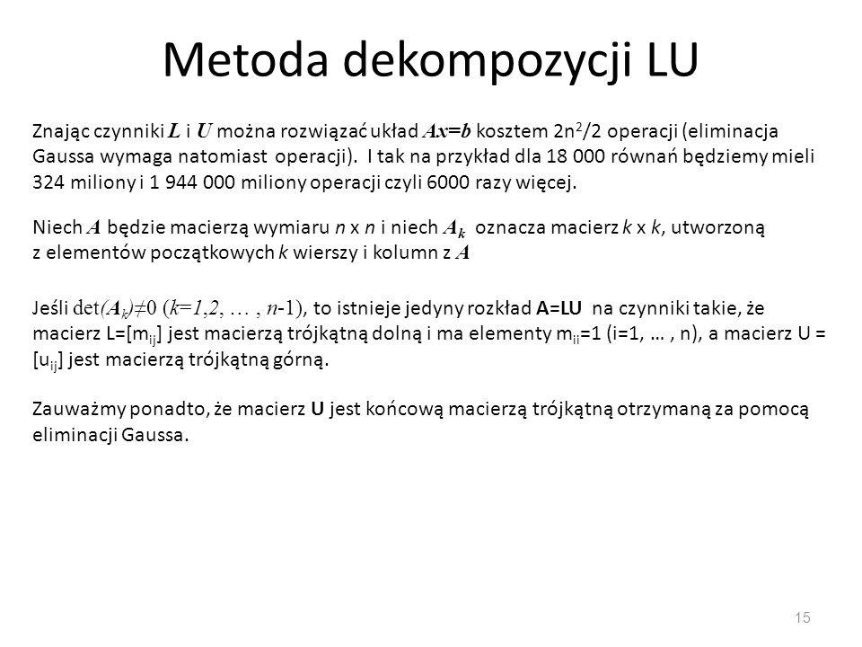 Metoda dekompozycji LU 15 Znając czynniki L i U można rozwiązać układ Ax=b kosztem 2n 2 /2 operacji (eliminacja Gaussa wymaga natomiast operacji).
